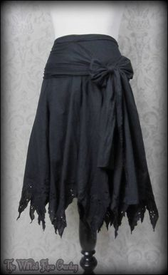 Black Broderie Anglaise Pixie Hem Skirt 16 Shabby Goth Dark Fairy Boho Summer | THE WILTED ROSE GARDEN