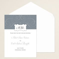Contemporary Scroll Save the Date Card | #exclusivelyweddings