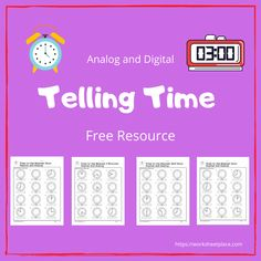 Children should learn analog and digital time. Use these free worksheets for your students from grade Learn to tell time to the half hour, hour, quarter hour, five minutes and to the minute. Clock Worksheets, Free Worksheets, Learn To Tell Time, Time To The Hour, Time Clock, Telling Time, Grade 1, Free Printables, Students