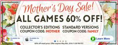 BigFishGames 60 percent off all games for mothers day