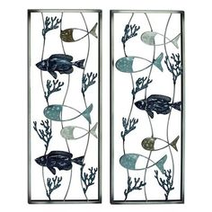 Benzara Inc 23473 Set of 2 Fish Metal Wall Art Contemporary styled this fish metal wall decor set is perfect for modern styled home interiors. This set include Accent Wall Decor, Iron Wall Decor, Wall Decor Set, Art Decor, Room Decor, Metal Walls, Metal Wall Art, Fish Design, Cool Walls