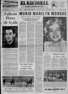 Portada 6-08-1962 anunciando la muerte del Marilyn Monroe.