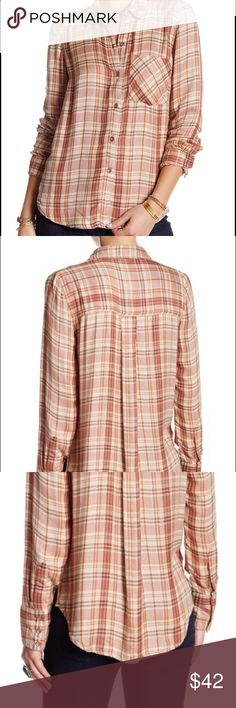 """New Free People Joplin Flannel Plaid Shirt XS This is a new Free People Joplin Flannel. - Spread collar - Front button closure - Long sleeves - Chest patch pocket - Plaid pattern - Shirttail hem - Approx. 27"""" length - Imported Fiber Content 100% rayon Care Hand wash Additional Info Fit: this style fits true to size. Free People Tops Button Down Shirts"""