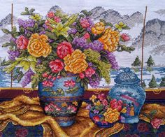 New Finished Completed Cross Stitch - Rich and gorgeous vase - 11CT - 9182