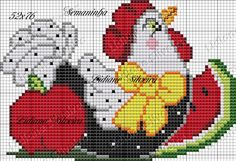 Chicken With Fruit Cross Stitch Borders, Cross Stitch Designs, Cross Stitching, Cross Stitch Embroidery, Cross Stitch Patterns, Rooster Cross Stitch, Chicken Cross Stitch, Cross Stitch Animals, Plastic Canvas Crafts