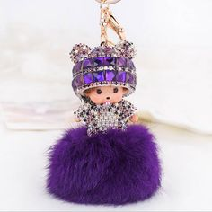 >> Click to Buy << 1PC Cute Monchhichi Crystal Fluffy Faux Rabbit Fur PomPom Ball Keychain Keyring Xmas Gift #Affiliate