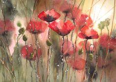 Akwarela kwiaty obraz - ŁĄKI I OGRODY (5708660639) - Allegro.pl - Więcej niż aukcje.
