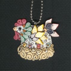 Spring Chicken Laying Hen Necklace Polymer Clay by Freeheart1, $22.00