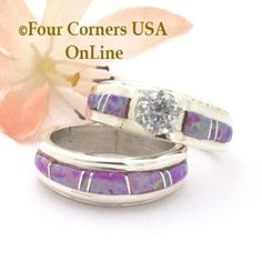 Size 5 Pink Fire Opal Engagement Bridal Wedding Ring Set Navajo Wilbert Muskett Jr WS-1668 Four Corners USA OnLine Native American Jewelry