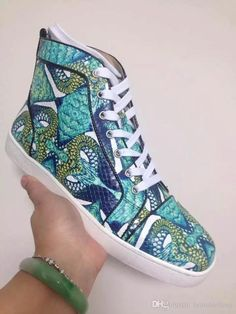 bbc92c19c19 Christian Studded Printed Python Skate Sneakers Graffiti Print Sneaker  Snakeskin Shoes And Platform Shoes Green High Tops Women Men S Shoes Boat Shoes  Shoes ...