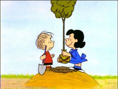 Linus is concerned about  the tree on the mound, but Lucy says it will provide shade - It's Arbor Day, Charlie Brown (TV Short 1976)