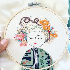 I am finishing some orders and this lady #embroidery #elenacaron #raleigh #nc #embroideryhoop #matryoshka #handmade #illustration