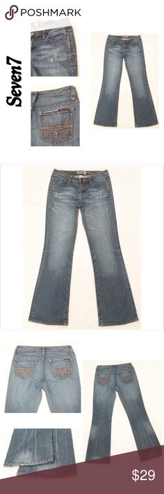"""Seven 7 Distressed Medium Wash Boot Jean 27 X 30 Seven 7 Distressed Medium Wash Boot Cut Denim Blue Jean 27 X 30  Waist flat 15.5"""" Rise 7"""" Inseam 30.5"""" Light wear on back heel seams Otherwise, no holes or significant wear- only distressed manufacturer look   #J6 Seven7 Jeans Boot Cut"""