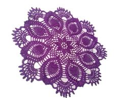 Crochet Doily, Purple, Pineapple, Crochet Doilies, Lace Doily