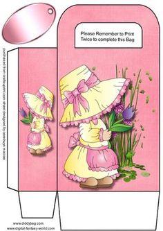 Pink gift Bag Bonnet Girl on Craftsuprint - Add To Basket! Printable Box, Box Templates, Kids Boxing, Diy Box, Pink Gifts, Hobbies And Crafts, Scrapbook Cards, Gift Bags, Cardmaking