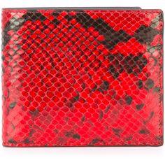Maison Margiela python-effect wallet ($440) ❤ liked on Polyvore featuring men's fashion, men's bags, men's wallets, red, mens red wallet and mens python wallet
