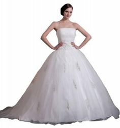 GEORGE BRIDE New Strapless Embroidery Beaded Ball Gown Wedding Dress