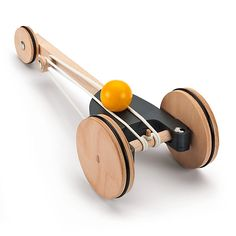 For children 6 years of age and older. Wheels and body made of veneer wood, axel, shaft and ball made of beech wood, with rubber bands and traction rings. - Rubber-Band Driven Racing Car at Manufactum Wooden Toy Cars, Wood Toys, Woodworking Toys, Woodworking Projects, Rubber Band Car, Wooden Puzzles, Wooden Crafts, Diy Toys, Racing