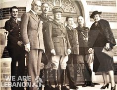 """General Weygand, the high commissioner, to his left the novelist Pierre Benoit the author of """"La Chatelaine du Liban"""", year 1923"""