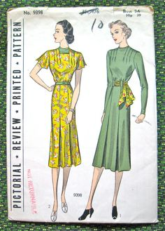 UNcut 1930s Pictorial Review Printed pattern 9398. by Fancywork