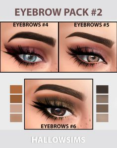 "hallowsims: ""EYEBROW PACK #2You can find Pack #1 *here* - Work with Hq mode. - Teen/Young Adult/Adult/Elder; - Custom thumbnail; - Smooth texture;2048&4096 Download Eyebrows #4 (Simfileshare) Download..."