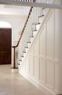 Marvelous Tips: Wainscoting Living Room Home full wall wainscoting ideas.Wainscoting Stairwell Railings wainscoting living room home.Wainscoting Living Room Home. Stair Paneling, Foyer Decorating, Stair Railing, House Design, Staircase Design, Split Foyer, Millwork Wall, Stairways, Wainscoting Stairs