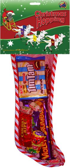 Available November 10th! Christmas Hopping Stocking 360g.   Christmas Hopping is the theme for our Christmas stockings this year. Each stocking is filled with a delicious selection of Australian treats.   *New Tim Tam Treats Pack, Violet Crumble, Cherry Ripe, Caramello Koala, Freddo Frog, Cadbury Chocolate Bar, Tim Tam Original, Vegemite Sampler and Minties!