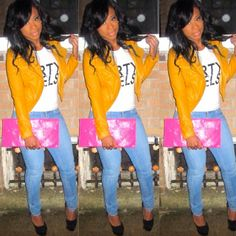 Mustard/yellow leather jacket and pink clutch, available now at www.lavashti.com