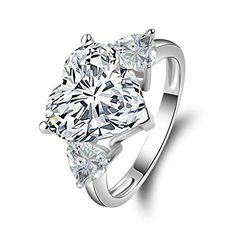 AmDxD Jewelry Silver Plated Women Promise Customizable Rings Heart CZ Inlaid Size 6 -- Check out this great product.