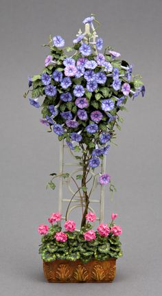 Morning Glory on trellis by Michele Carter