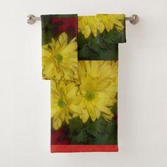 The bright eye catching flower bath towel set - home decor design art diy cyo custom