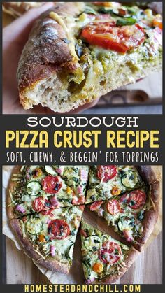 You're going to love this cast iron sourdough pizza crust recipe! It is soft, chewy, and delicious - and extra nutritious, made with half whole wheat flour. Entree Recipes, Tart Recipes, Pizza Recipes, Real Food Recipes, Dinner Recipes, Vegetarian Recipes, Whole Wheat Sourdough, Sourdough Pizza, Whole Wheat Pizza