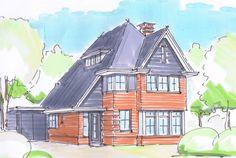Rijk gedetailleerde nieuwbouw villa in 30-er jaren stijl met roedes, sierranden, rode baksteen en donkere pannen te Doorn Utrechtse Heuvelrug - 01Architecten Nijverdal