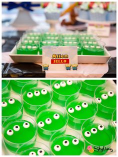 "Toy Story dessert table treat.  ""we are eternally grateful"" aliens"