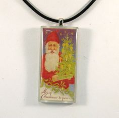 Vintage Postcard Necklace  Santa  Merry Christmas to You by 12be, $14.50