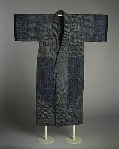Sashiko Kimono from Meiji period (1868–1912), mid-19th century. Indigo-dyed plain-weave cotton, quilted and embroidered with white cotton thread