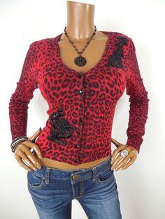 2d3de8d9383c73 INC Womens Top M Cardigan Sweater Shirt Red/Blk Animal Beads Gem Buttons  Long Sl #INCInternationalConcepts #Blouse #Casual