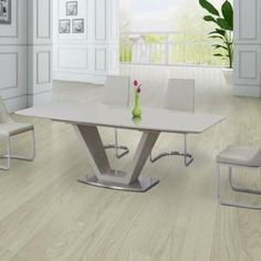 Parini Extendable Dining Table Rectangular In Grey Gloss