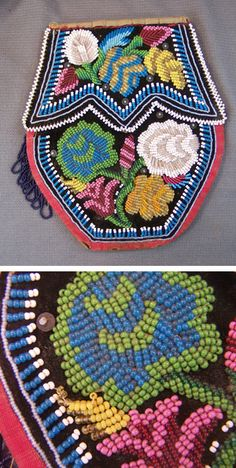 Historic Iroquois and Wabanaki Beadwork: Unusual 19th Century Iroquois Floral Bags