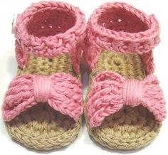 Pink Crochet Bow Sandals