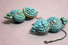 Tibet | Earring from the 17th - 19th century | Gold and turquoise