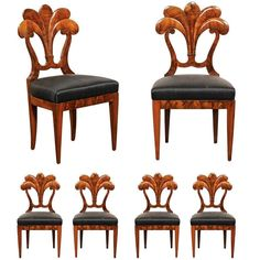 Set of Six Viennese Biedermeier Dining Chairs with Horsehair Seats, circa 1825 1