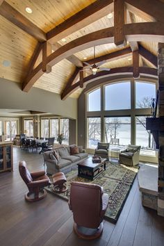 Great room of a custom douglas fir timber frame home
