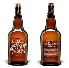 Better Half Blonde Ale- like the script straight on the bottle, no paper label needed Cool Packaging, Beer Packaging, Print Packaging, More Beer, Wine And Beer, Blonde Ale, Beer Brands, Packaging Design Inspiration, Creative Inspiration