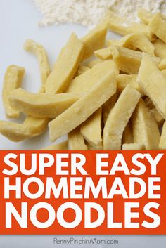 Easy Homemade Noodles Easy homemade noodles recipe that anyone can make. Use them to make chicken noodle soup, chicken and noodles or anything that requires a noodle! This noodles recipe is one of the simplest you can try Easy Homemade Noodles Egg Noodle Recipes, Soup Recipes, Cooking Recipes, Chicken Recipes, Dinner Recipes, Noodle Soups, Cooking Chef, Fast Recipes, Cooking Ideas