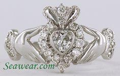 Risultati immagini per Claddagh Ring Claddagh Engagement Ring, Diamond Claddagh Ring, Claddagh Rings, Engagement Rings, Jewelry Box, Jewelery, Jewelry Accessories, Irish Jewelry, Love Ring