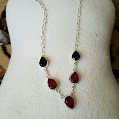 Necklace Garnet necklace Jewelry