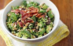 broccoli salad with sunflower seeds & crispy bacon