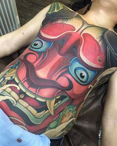 Absolutely the best full body tattoo with Japanese Oni mask Tattoo Girls, Body Tattoo For Girl, Full Body Tattoo, Body Art Tattoos, Color Tattoos, Large Tattoos, Black Tattoos, Hannya Mask Tattoo, Oni Mask