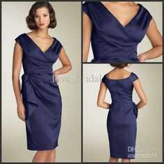 Wholesale 2013 Beach Mother of the Bride Dresses Sheath V-neck Knee Length Satin Wedding Guest Groom Mother Dresses Gown Online, Free shipping, $86.24-95.2/Piece | DHgate